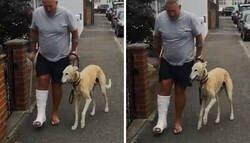 Enlace a Este hombre lesionado gastó 400$ en el veterinario porque su perro cojeaba, para descubrir que lo hacía por imitarle