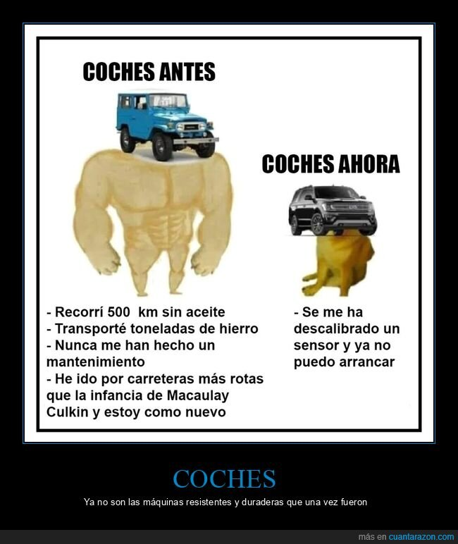ahora,antes,coches,doge y cheems
