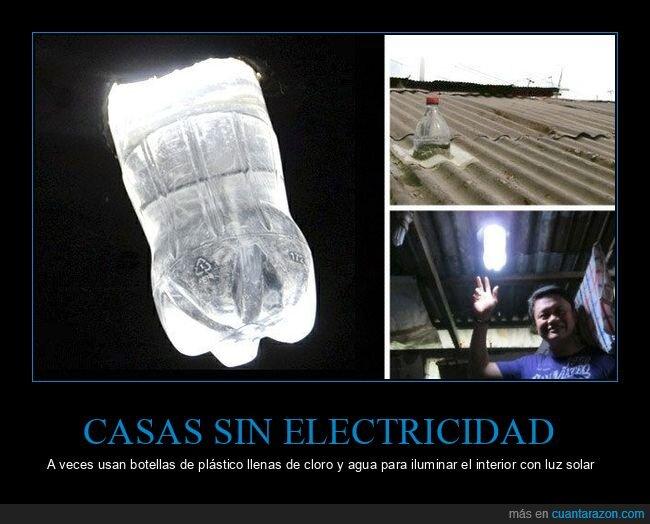 botellas,casas,electricidad,iluminar