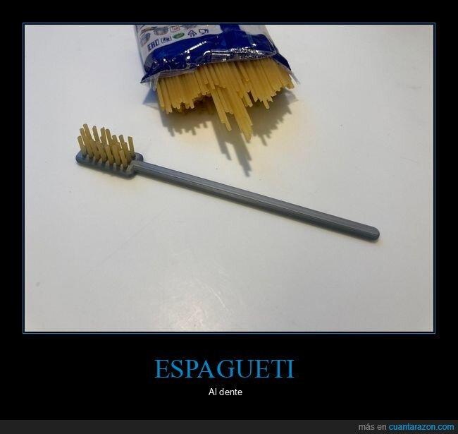 cepillo de dientes,dente,espagueti