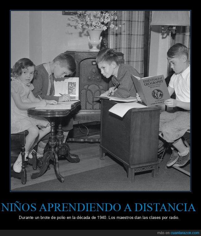 clase,niños,polio,radio