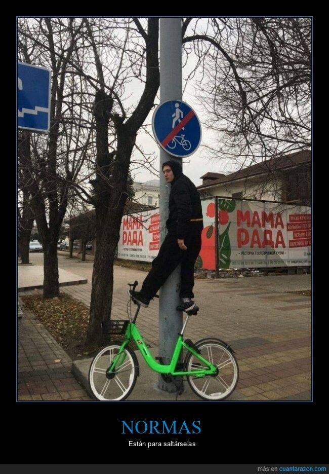 bicicleta,cartel,prohibición