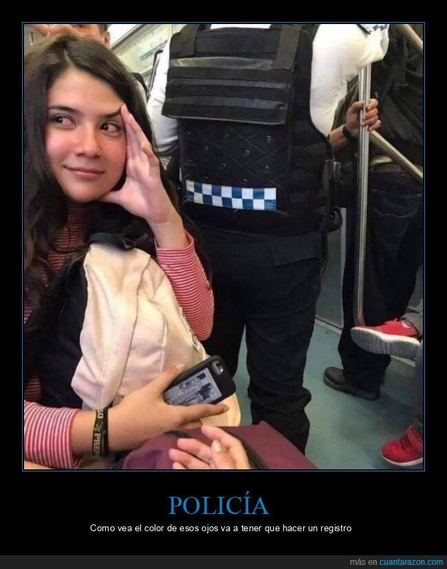 ojos rojos,policía