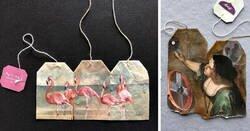 Enlace a Ruby Silvious, la artista que crea obras de arte en miniatura sobre bolsas de té