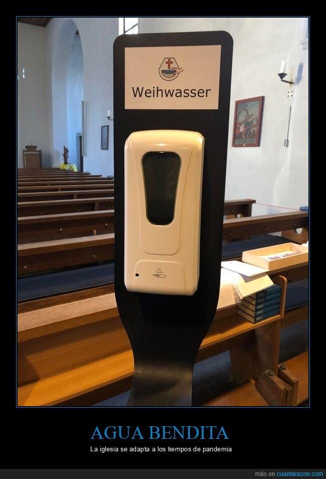 agua bendita,coronavirus,dispensador,iglesia