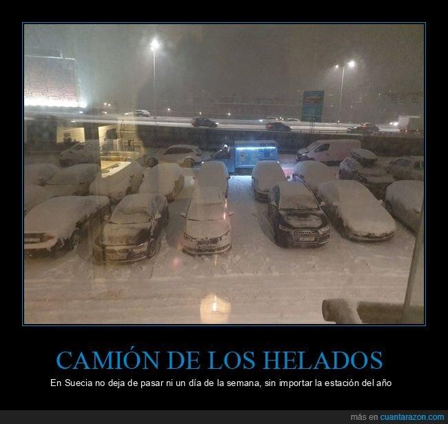 camión de los helados,frío,nieve,suecia,wtf
