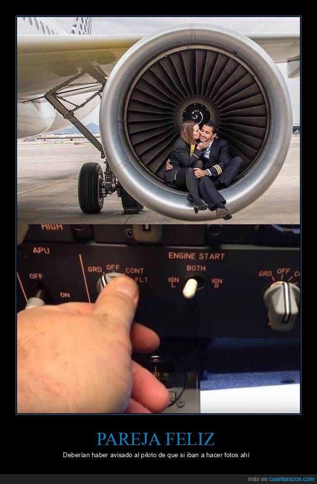 avión,pareja