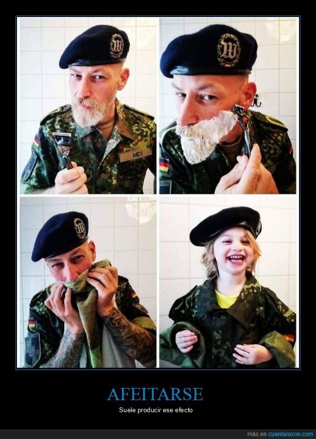 afeitarse,barba,niño