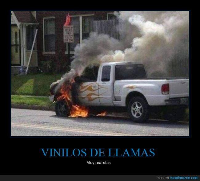 ardiendo,coches,fuego,vinilos