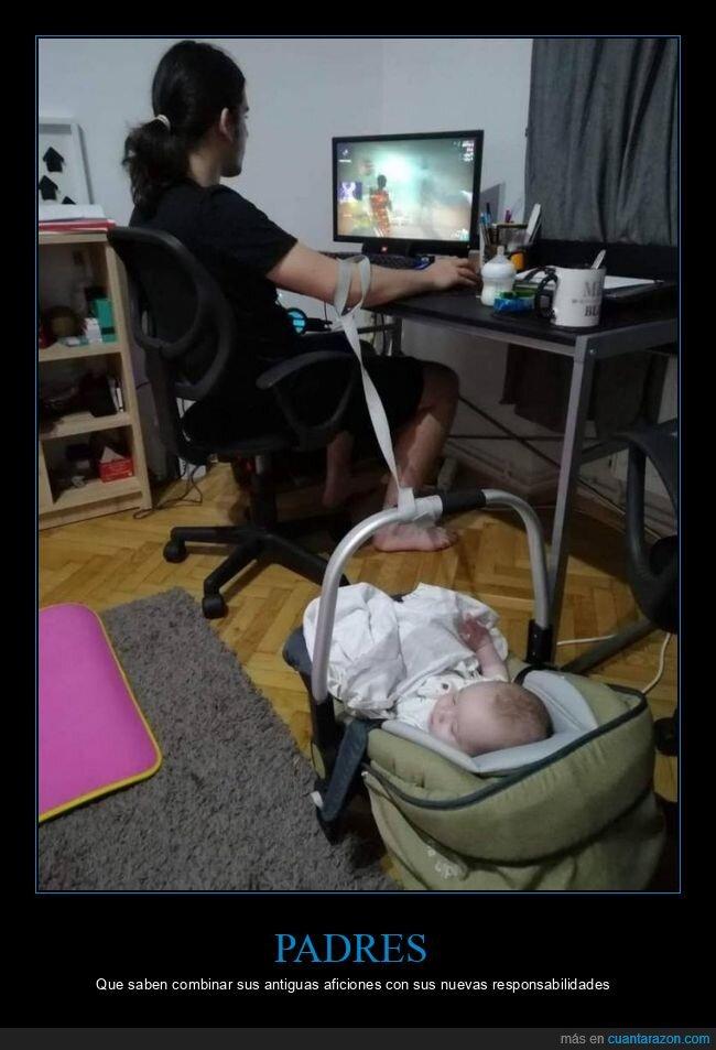 bebé,jugando,padre