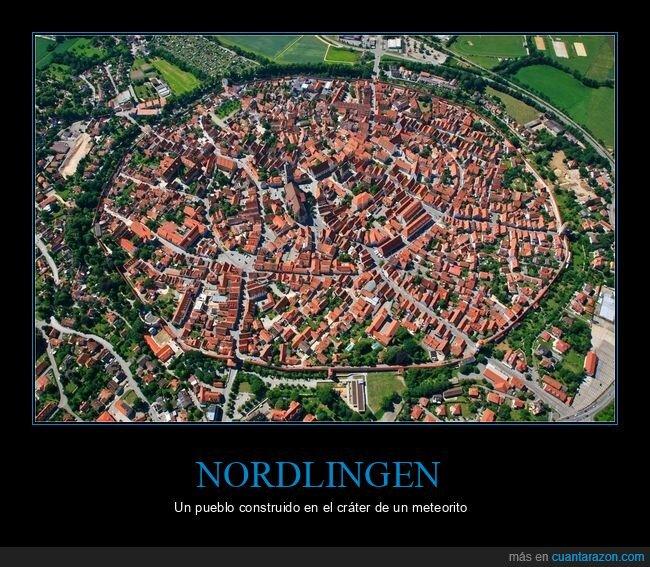 cráter,meteorito,nordlingen,pueblo