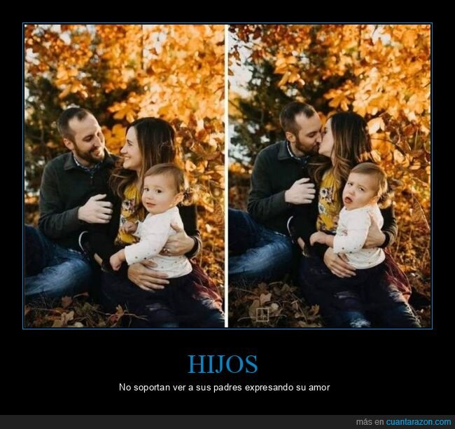 besándose,caras,hijo,padres