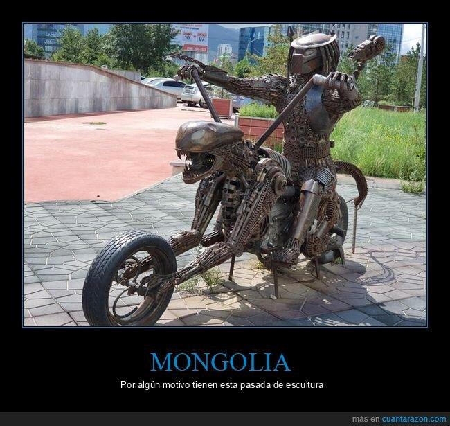 alien,depredador,escultura,mongolia,moto