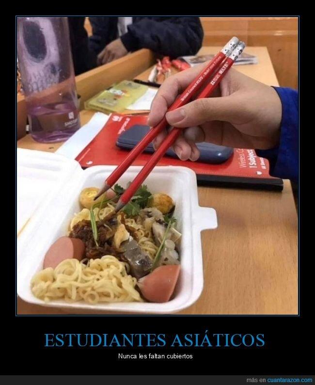 asiáticos,comiendo,lápices,palillos