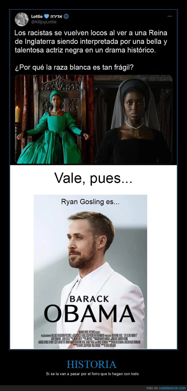inglaterra,negra,obama,reina,ryan gosling