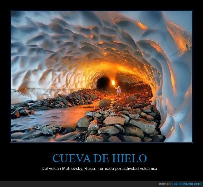 cueva,hielo,volcán mutnovsky