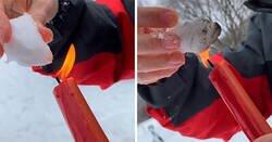 Enlace a Teóricos de la conspiración afirman que la nieve en Texas es falsa y la queman para demostrar que no se derrite