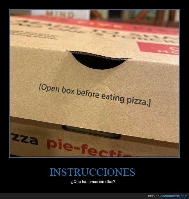 caja,instrucciones,pizza