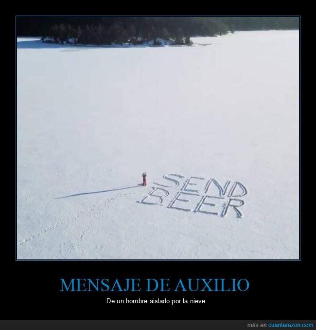 cerveza,mensaje,nieve