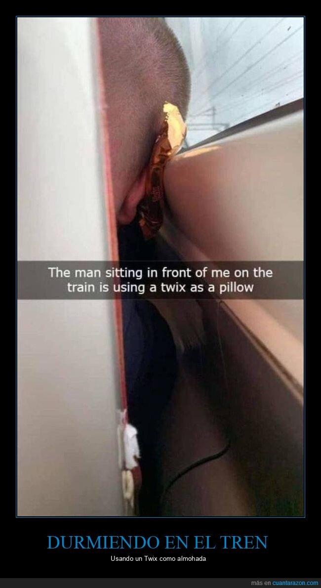 almohada,durmiendo,tren,twix
