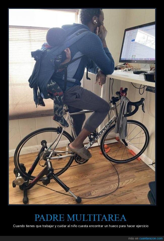 bicicleta,padre,trabajo