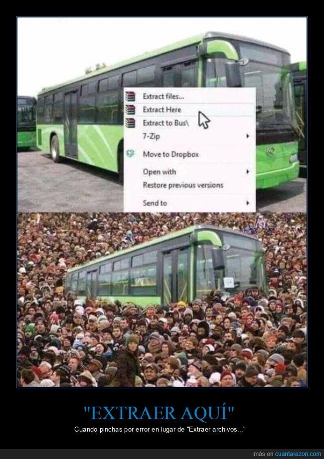 archivos,autobús,descomprimir,winrar