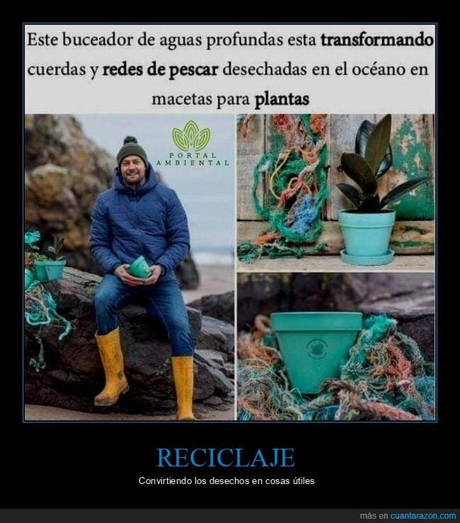 buceador,macetas,reciclar,redes de pesca