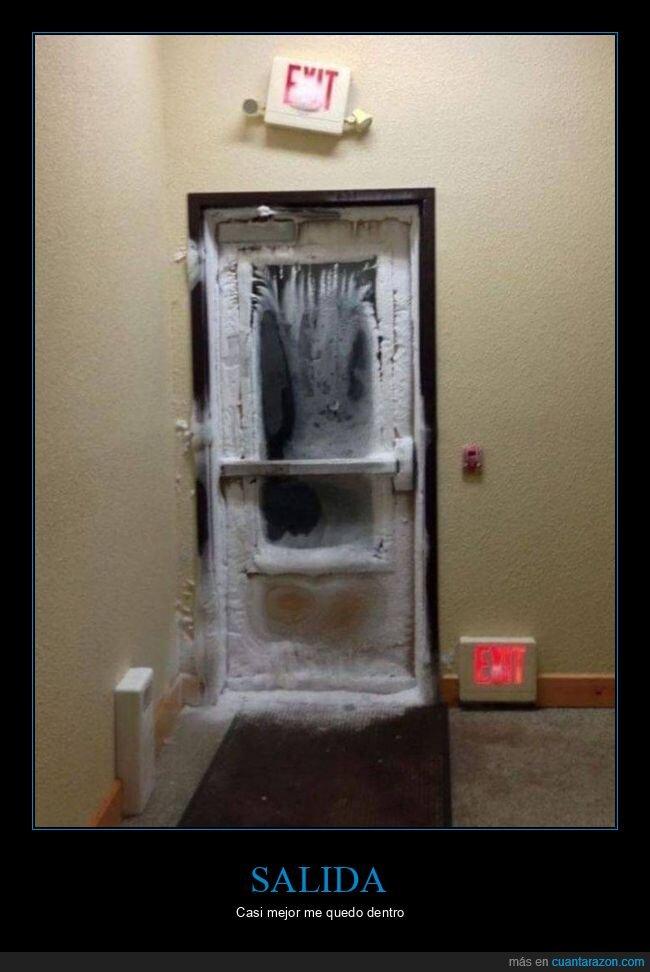 frío,hielo,puerta,salida