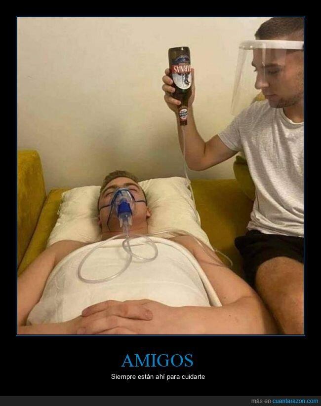 amigo,cerveza,enfermo
