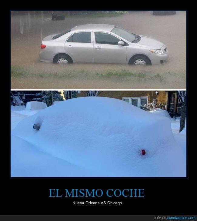 chicago,coche,inundación,nieve,nueva orleans