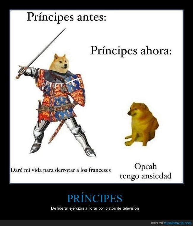 ahora,antes,doge y cheems,meghan markle,oprah,principe harry,príncipes
