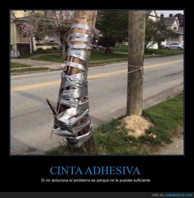 cinta adhesiva,fails,poste