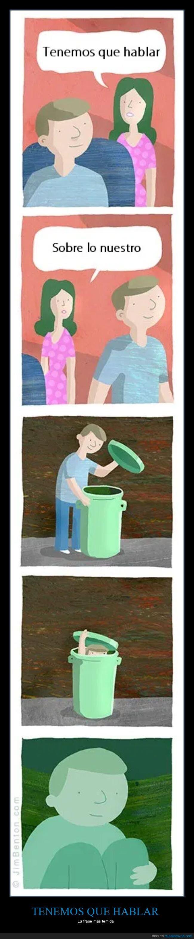 basura,hablar,pareja