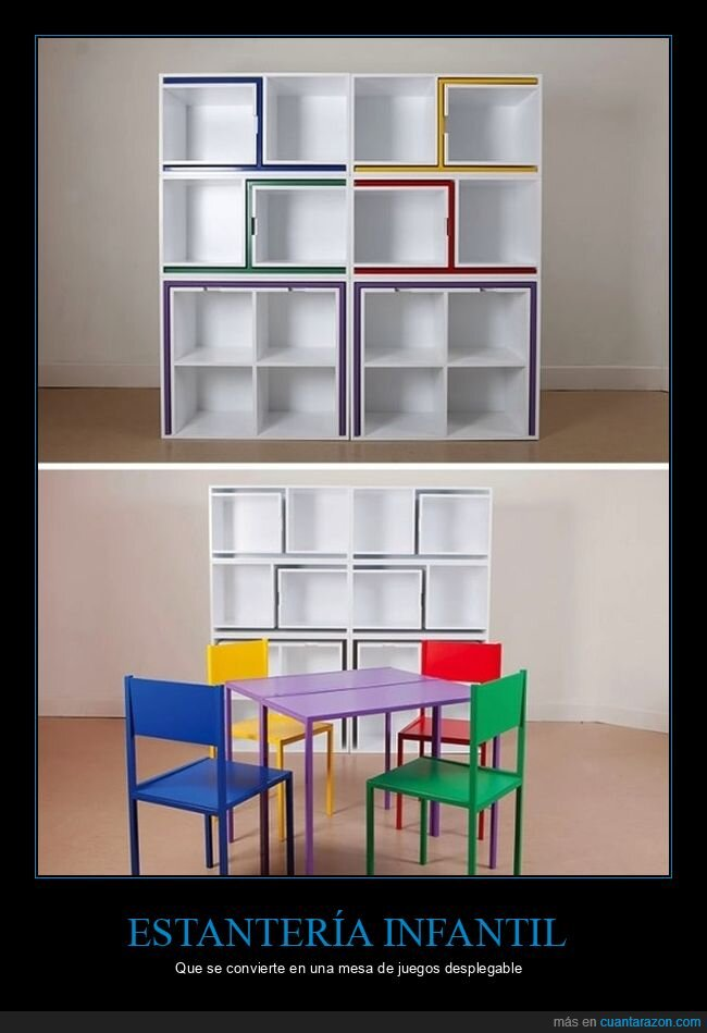 estantería,mesa,sillas