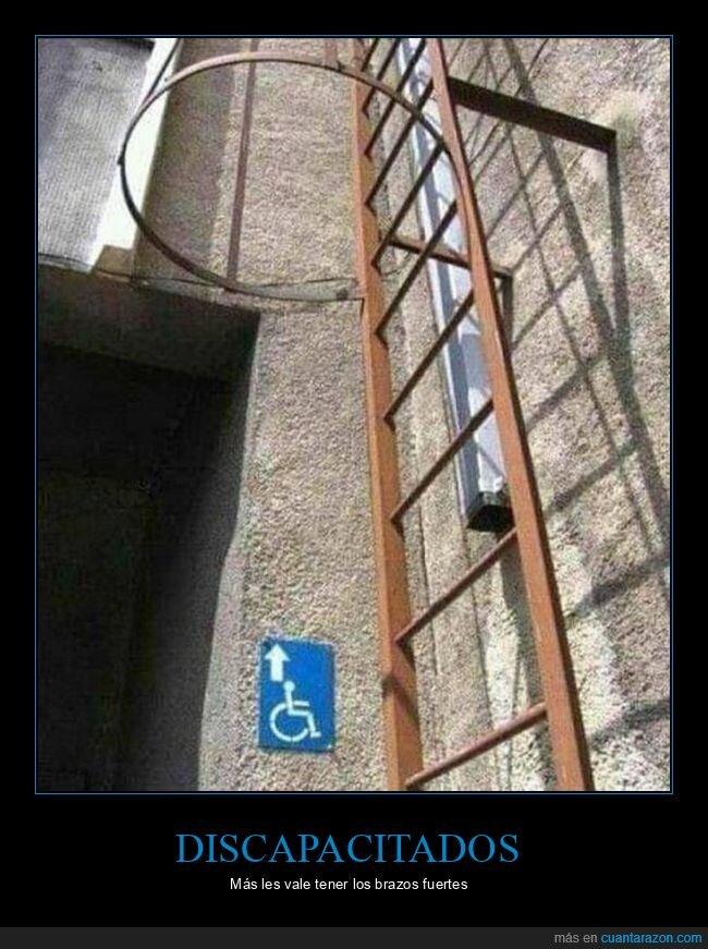 cartel,discapacitados,escaleras,wtf