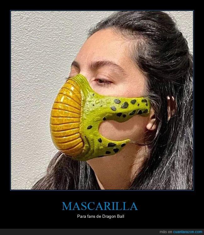 cell,dragon ball,mascarilla
