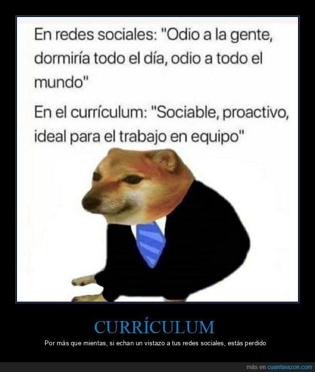 currículum,redes sociales