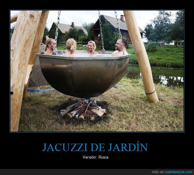 jacuzzi,jardín,rusos,wtf