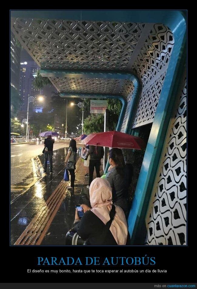 diseño,fails,lluvia,parada de autobús