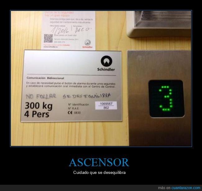 ascensor,carteles,desequilibrarse