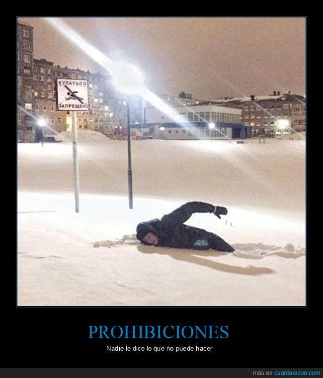 cartel,nadar,nieve,prohibición
