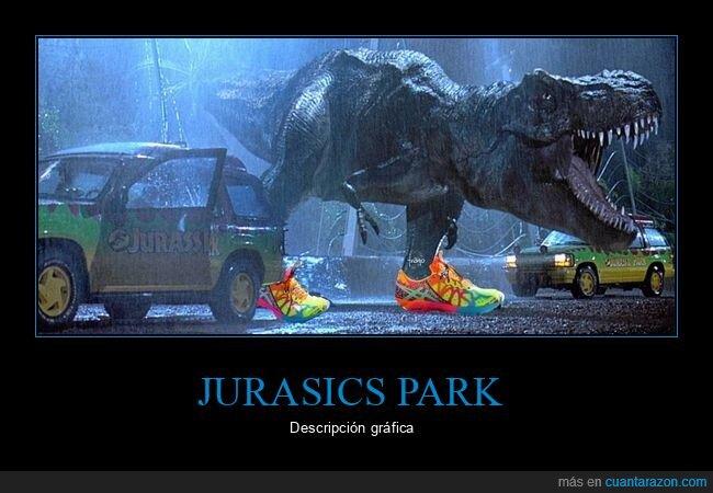 asics,dinosaurio,jurassic park,zapatillas
