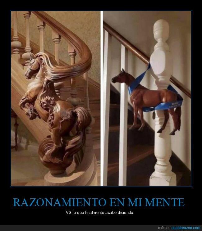 caballo,escalinata,pensar,razonamiento