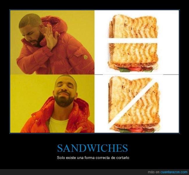 cortar,diagonal,drake,sandwich