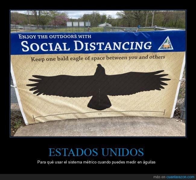 águilas,distancia social,eeuu,sistema métrico,usa