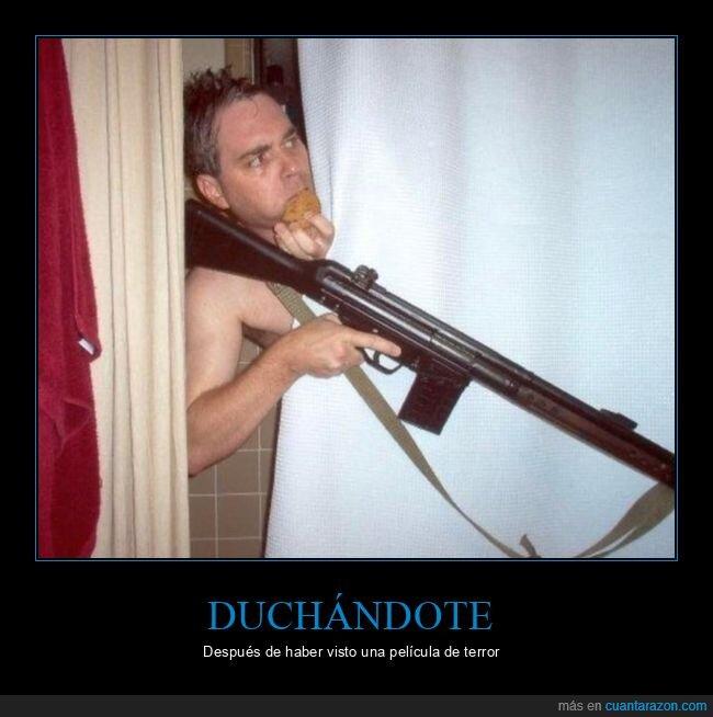 ducha,escopeta,miedo,película,pistola