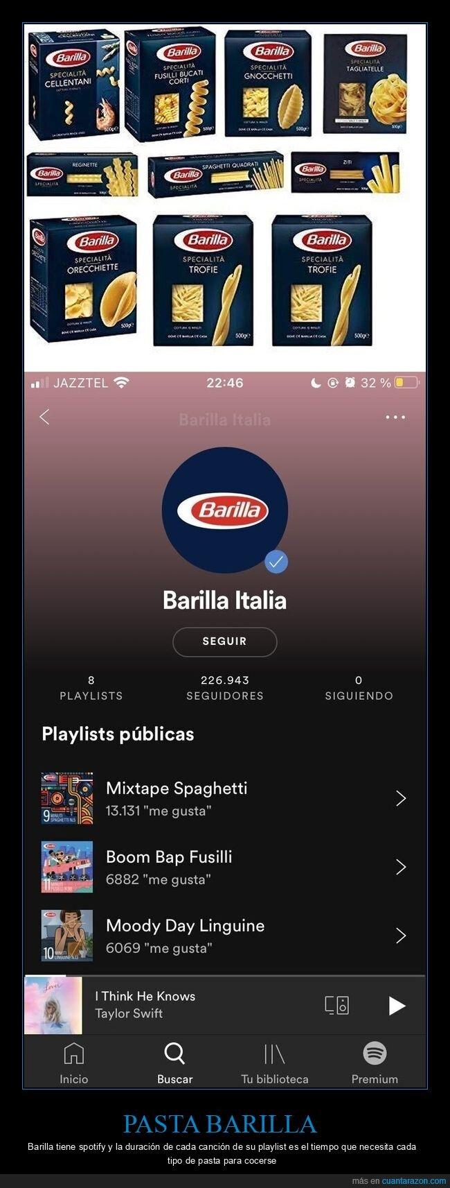 barilla,cocerse,pasta,spotify