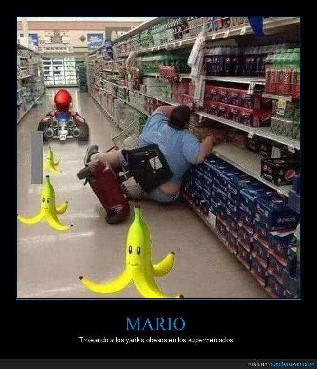carrito eléctrico,chops,fails,gordo,mario kart,supermercado