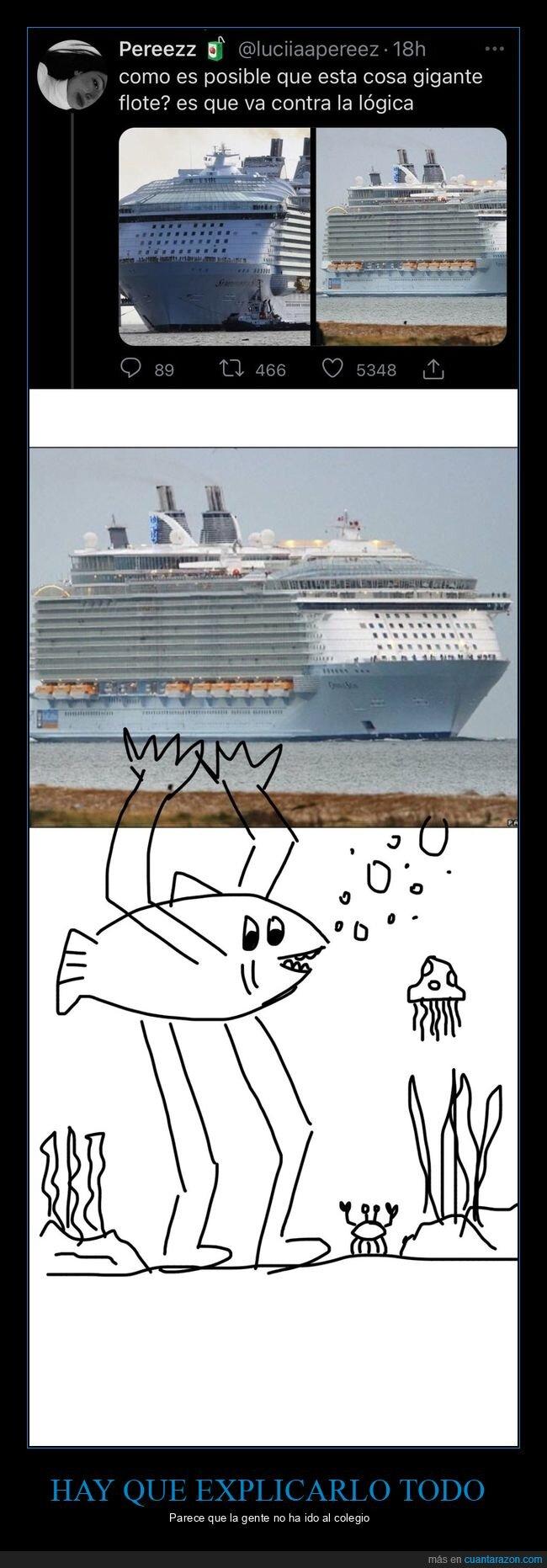 barco,explicación,flotar