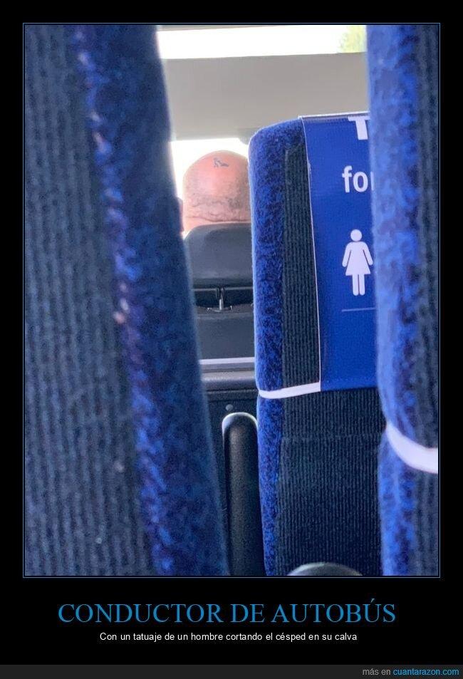 autobús,calva,conductor,cortando el césped,tatuaje